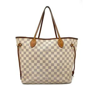 Neverfull Damier Azur Mm White Canvas Tote